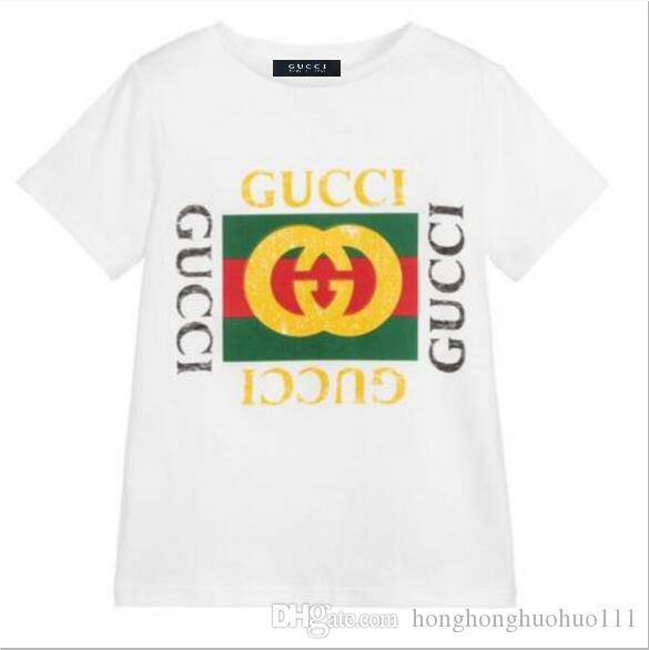 T-shirt à manches courtes pour enfants T-shirt en coton pour filles et garçons 2019 marée européenne et américaine vêtements pour enfants