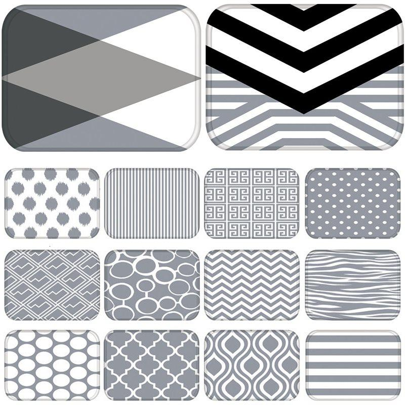 Gray Geometric Kitchen Entrance Door Mat Coral Velvet Carpet Rubber Colorful Indoor Floor Mats Non-Anti-Slip Rug 48254