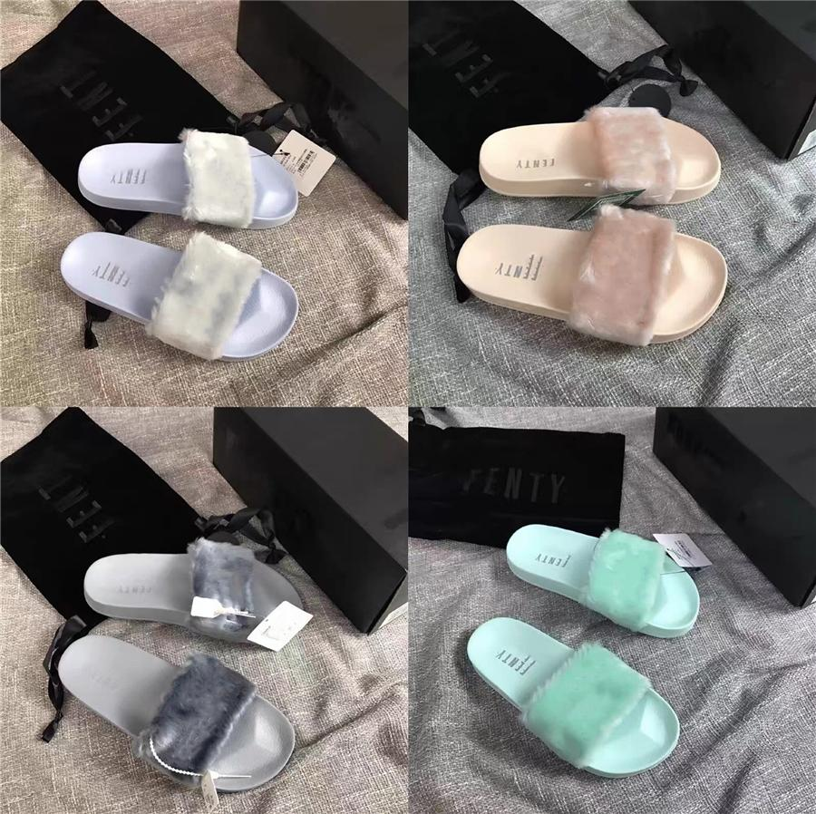 Горячие Сбывание зимы осени девушки плюшевые тапочки моды женщин Дизайнерские Открытый Keep Warm обувь Flat Слайды Fur Кони волос сандалии Размер 36-40 # 679