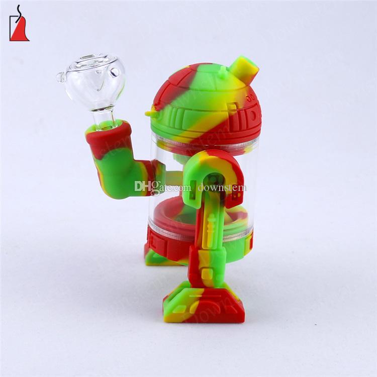 tuyau d'eau de conception silicone Creative forme de robot en verre brûleur à huile Tuyau silicone incassable fumer barboteur Hookah avec bol en verre