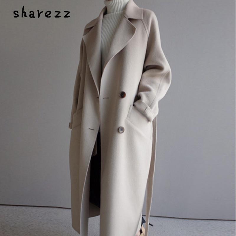 Sharezz 2019 الشتاء معطف الصوف المرأة واسعة التلبيب حزام جيب الصوف مزيج معطف طويل الصوف أبلى manteau فام hiver