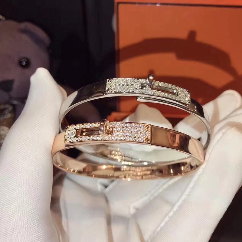 Brand Pure 925 Sterling Silver Jewelry For Women Twist Lock Silver Bangle Half Stone Rose Gold Bangle Wedding Jewelry Easy Lock