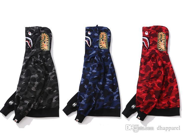 Nuovo adolescente Nero Rosso Splice Camo Stampa Zipper Sweater Uomini Donne Streetwear Moda allentato incappucciato cappuccio