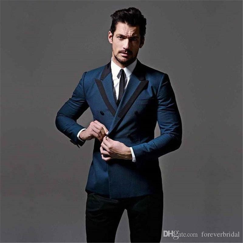 Two Pieces Blue Blazer Black Pant Double Breasted Wedding Mens Suits Peaked Lapel Custom Made Mens Tuxedos One Set Opp Bag Mens Fashion Mens Suits From Foreverbridal 73 27 Dhgate Com