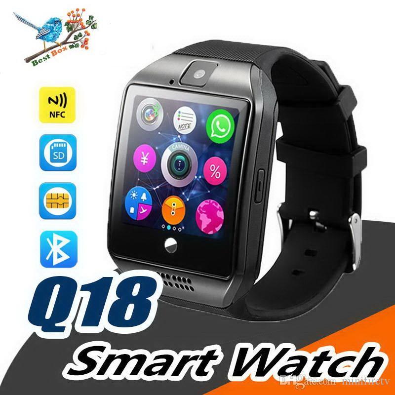 Pour Iphone 6 7 8 X Bluetooth Smart Watch Q18 Mini Caméra Pour Android Samsung Téléphones intelligents Samsung Carte SIM GSM Écran Tactile Courbé