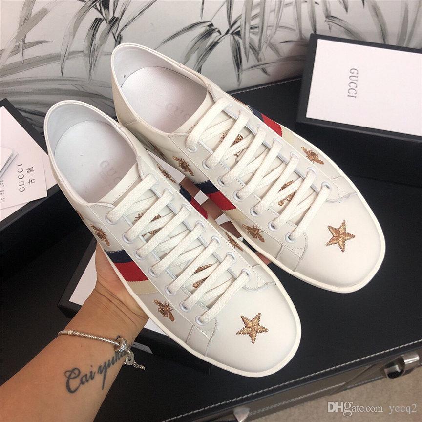 kahverengi yeşil çizgili en kaliteli lüks tasarımcıları ayakkabı siyah beyaz boyut 34-46 ile 19SW Yeni lüks Tasarımcılar ayakkabı adam kadın ace sneaker