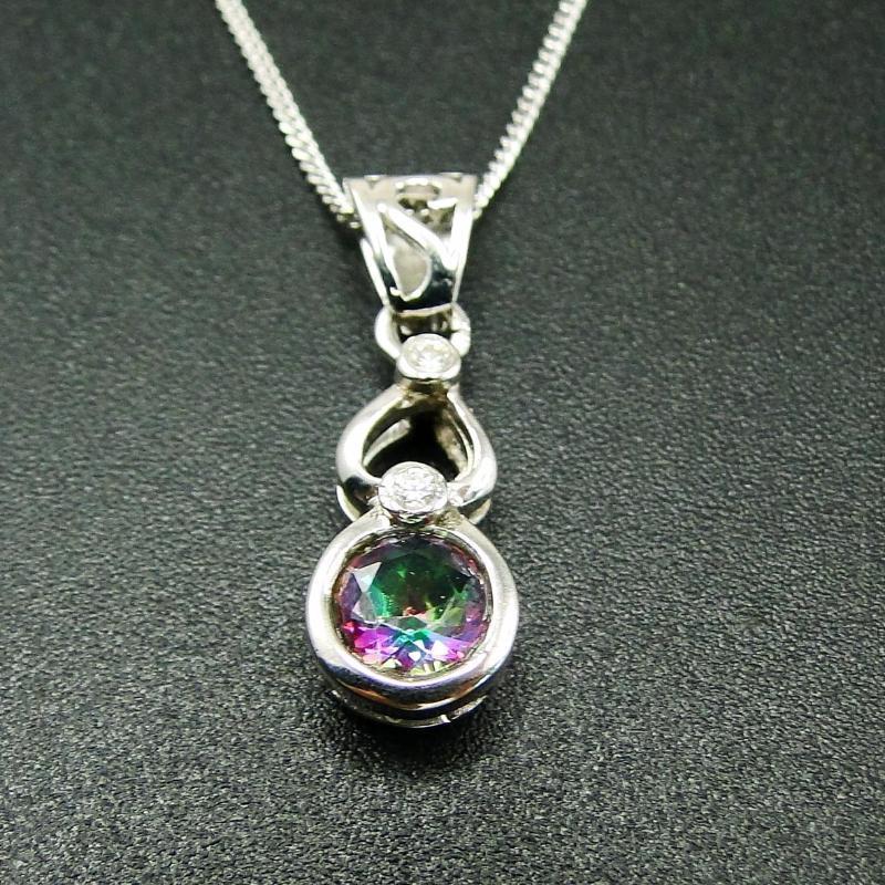 Высокое качество стерлингового серебра 925 пробы Радуга мистический Топаз кулон ожерелье для женщин подарок