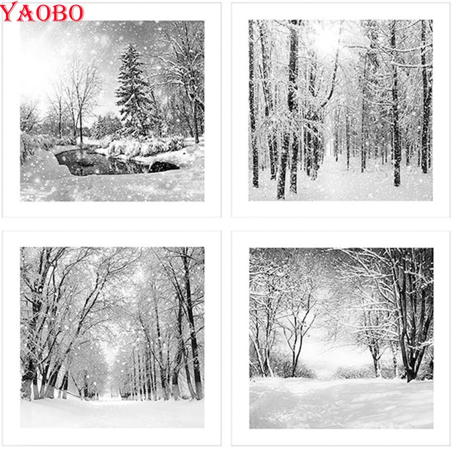 Venta al por mayor Pintura Diamante en blanco y negro Escena de Nieve Fotos Rhinestones 5 unids plaza llena de punto de Cruz bordado de diamantes Costura