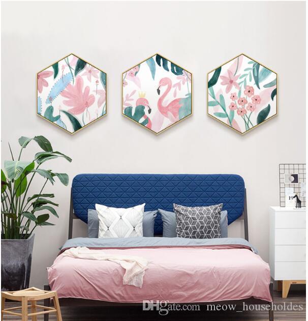 원래 inshexagonal 북유럽 거실 장식 핑크 플라밍고 복도에 매달려 그림 현대 간단한 거실 그림