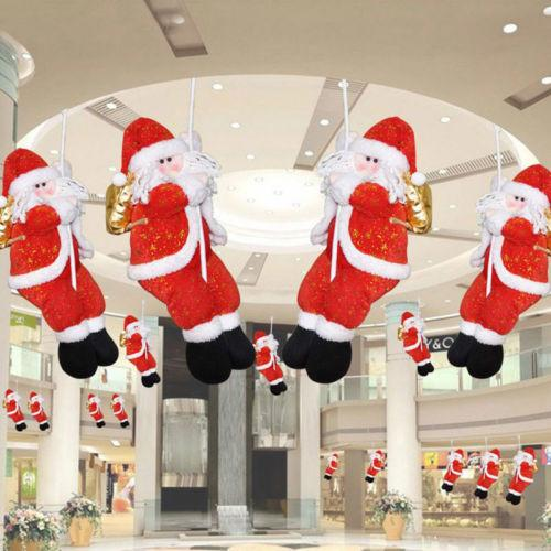 Presentes 1Pcs Natal corda de escalada Papai Noel teto Pendant Ornaments hangable Hotel Home Decor Gota Ornamento do Xmas decalques