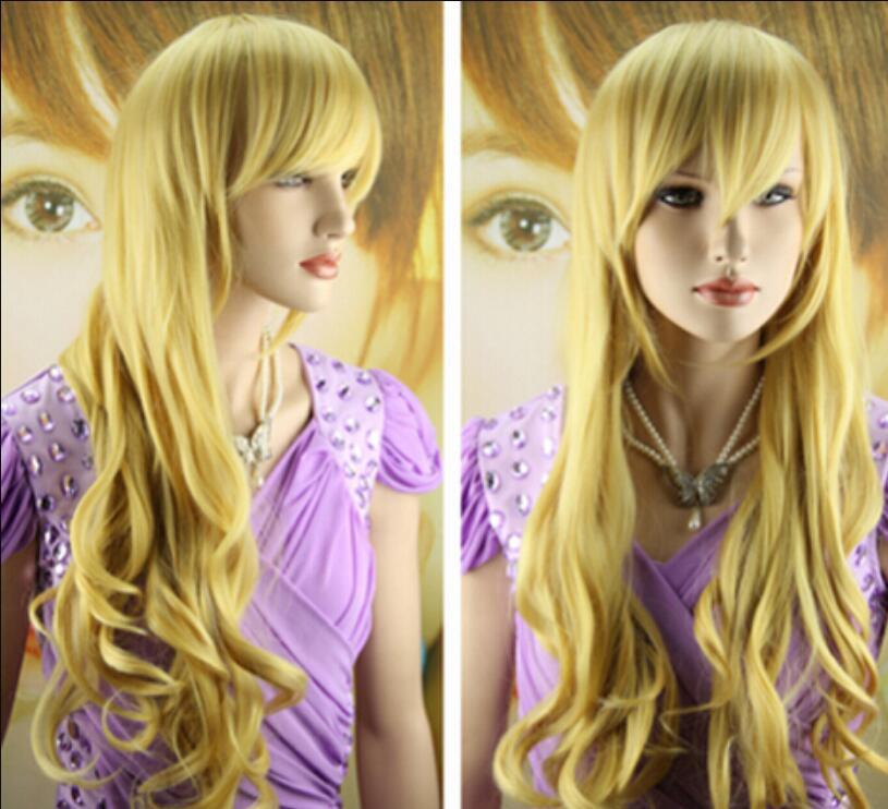 Perücke charmante lange gelbe Haare lockige Cosplay Perücke