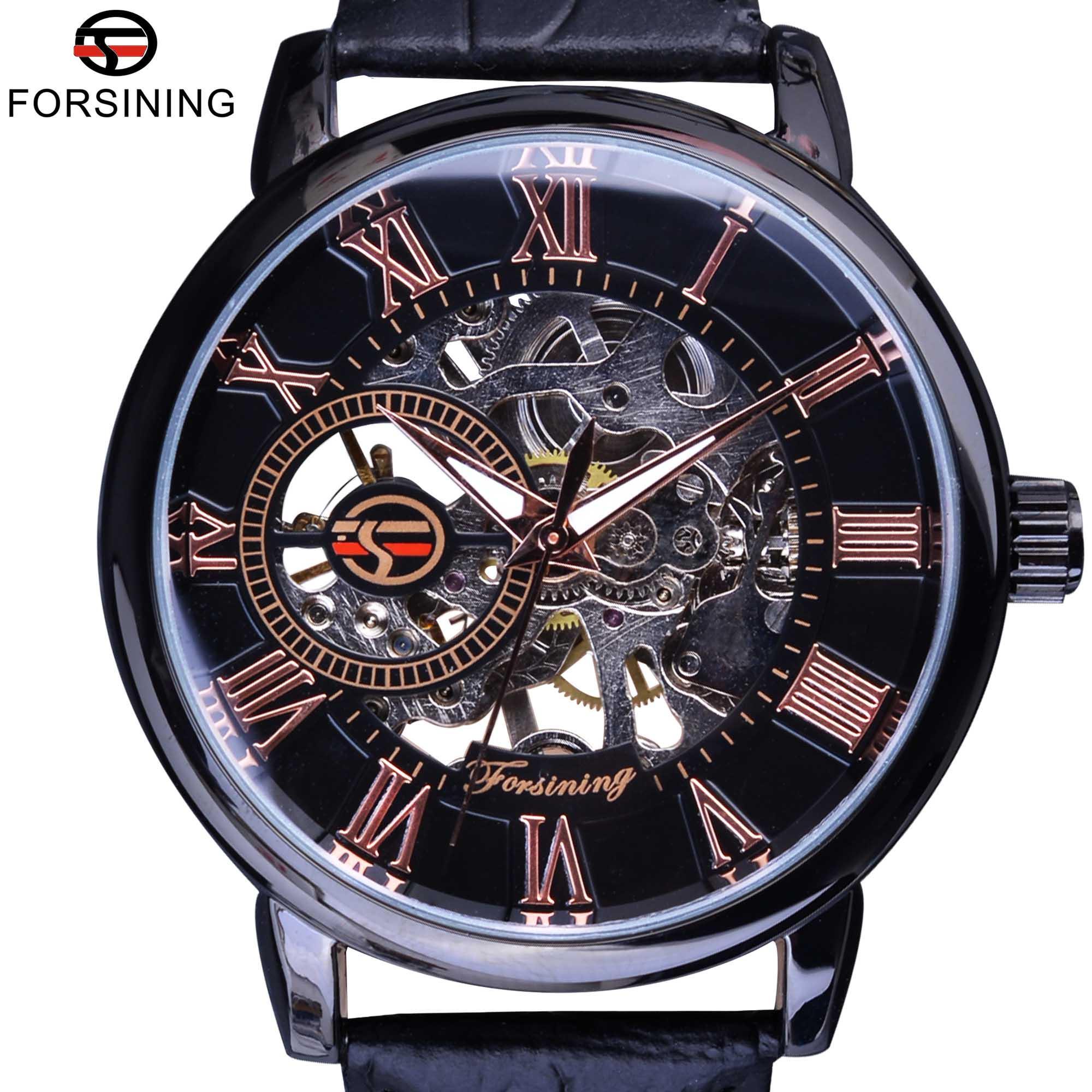 Exibição Forsining moldura preta Red Roman oco Gravura Relógios Homens Top Marca de luxo Mecânica Skeleton relógio relógio de pulso