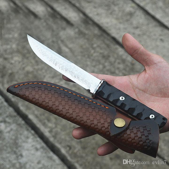New Arrival Damascus Fixed Blade VG10 Damascus Steel Drop Point Blade Full Tang Ebony Handle Straight Knives With Leather Sheath