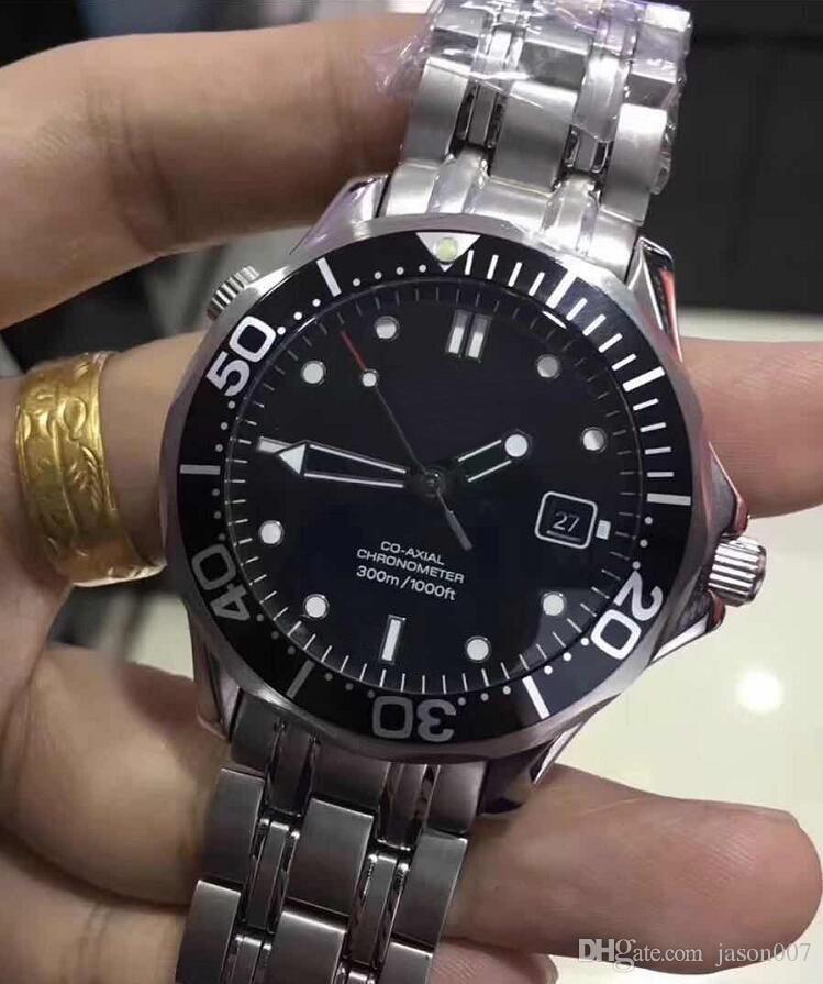 Noel Ücretsiz Otomatik Mechical James Bond Aqua Mens Master İzle Siyah Paslanmaz Çelik Saatler Erkekler Saatı