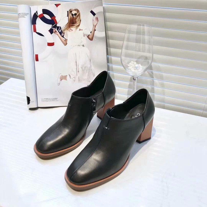 cabeza cuadrada cara de la venta que los zapatos de cuero de moda caliente grueso con zapatos de mujer de oficina informal del partido negro botas desnudas 35-39