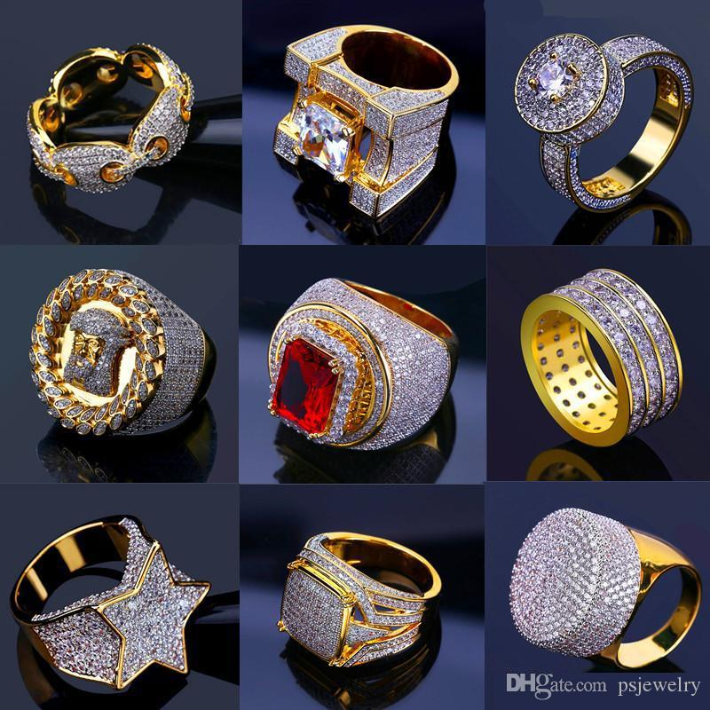 Bling Iced Out Gold Rings Mens Hip Hop Jewelry Cool CZ Stone Luxury Deisnger Men Hiphop Rings