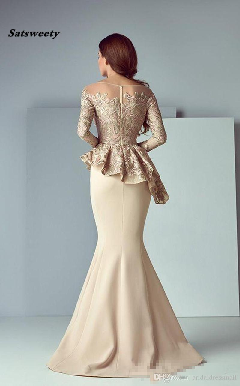 Großhandel 9 Champagner Schößchen Lange Abendkleider Abendbekleidung  Schiere Hals Langarm Spitze Fleck Dubai Arabisch Party Kleider Meerjungfrau