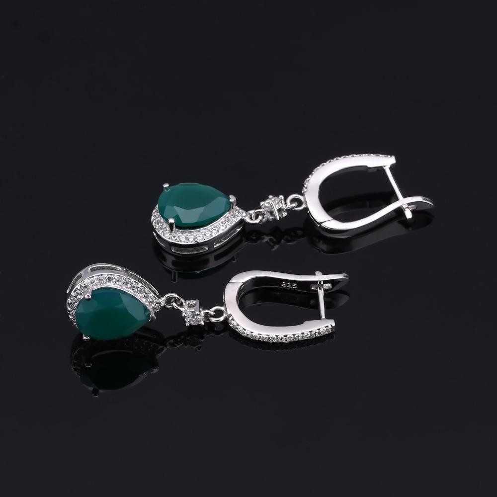 GEM балетных Твердая 925 Gemstone стерлингового серебра серьги кольцо Установить Зелень Агатовые комплект ювелирных изделий для женщин Vintage изящных ювелирных изделий