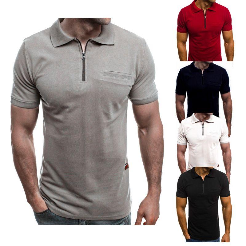 Polo Gömlek MenT gömlek Spor t Shirt Cep Yaz ile Moda T-shirt Yeni Yarım Fermuarlı Rahat T-shirt Iş tişörtleri