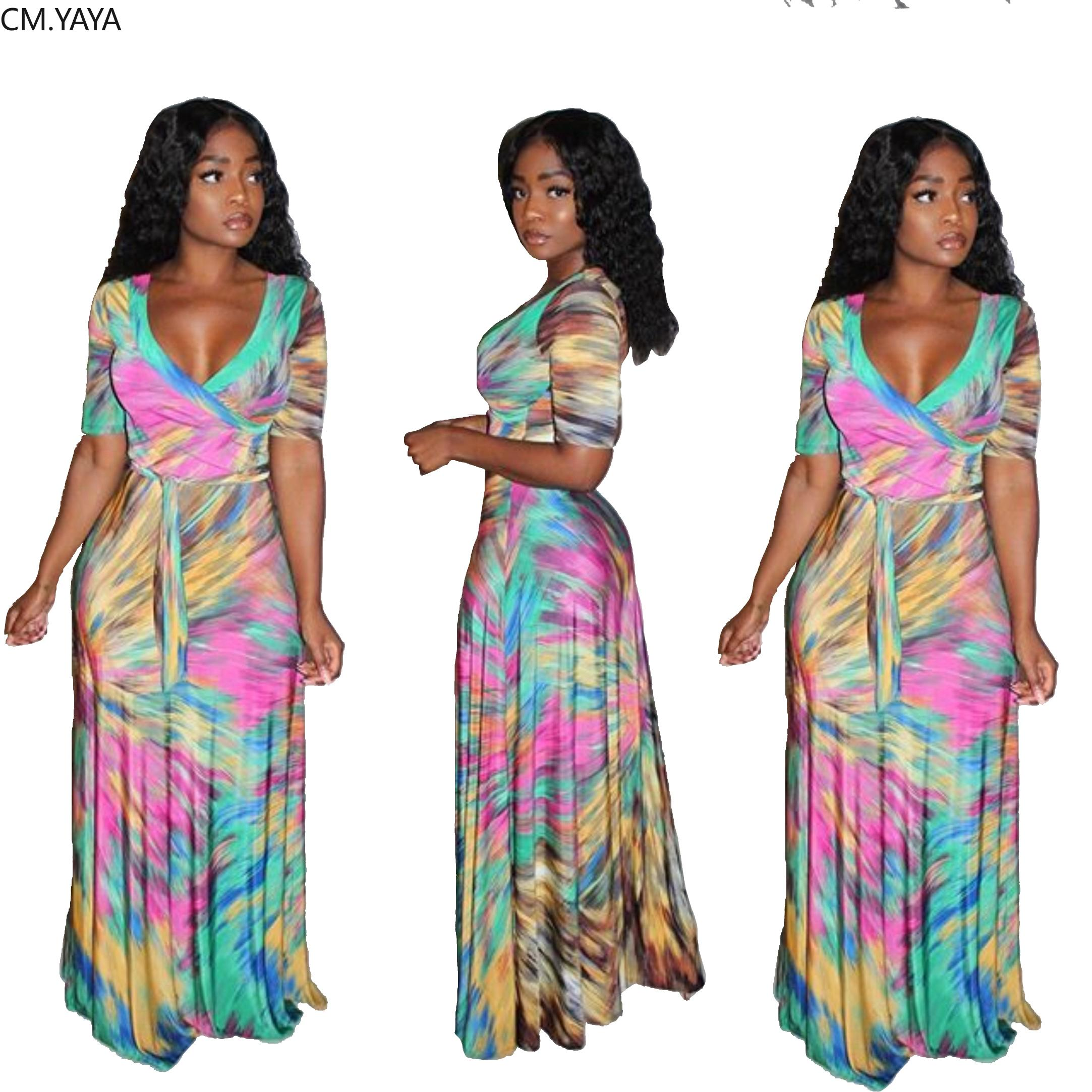 Women Dress Paisley Tie Dye Print V-neck Maxi Dress Stretch Short Sleeve Bodycon Fit & Flare Night Long Dresses Vestidos
