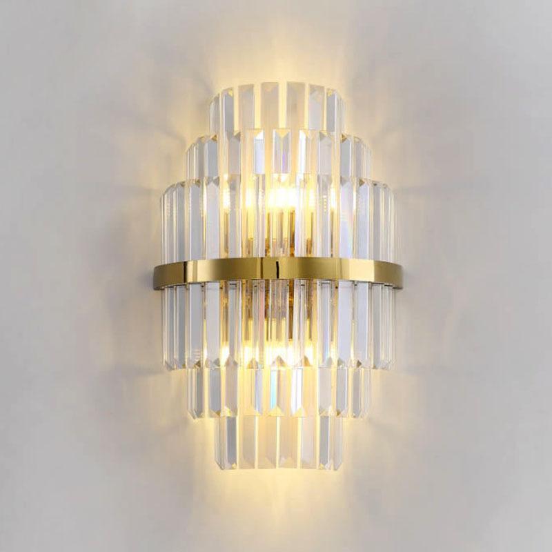 الحديث جدار الذهب الكريستال الشمعدانات إضاءة AC110-240V غرفة نوم جدار غرفة المعيشة السرير ضوء الديكور أدى مصابيح الحائط
