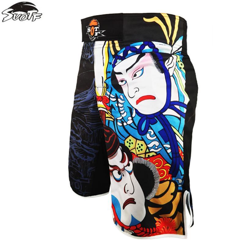 SUOTF impressão calções respirável esportes ferozes aptidão Tiger Muay Thai boxe calções calções mma baratos lutar calças mma