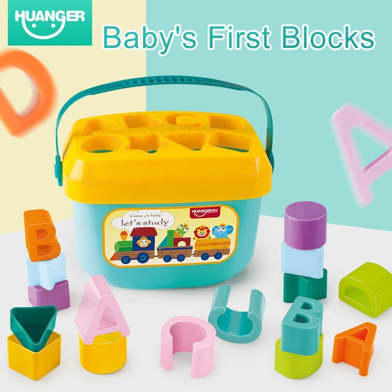 Huanger لعبة ColourShape الطفل كتل الأولى خلال 3 أشهر للأطفال تربية فرز صندوق للجنسين راتل خلوية سعيد هدية T200429