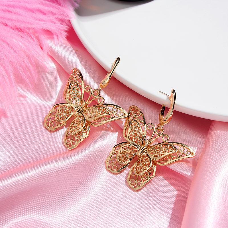 Kasajewel 2Pcs / Set-Höhle-Schmetterlings-Tropfen-Ohrringe für Frauen Mode-Goldfarben-Schmetterlings-Ohrring-Sätze eleganten Charme Schmuck