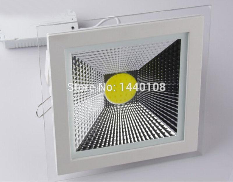 10pcs/lot New Design Glass Surface 5W 10W 15W LED COB Slim Square Ceiling Recessed Grid Downlight Flat Panel Light