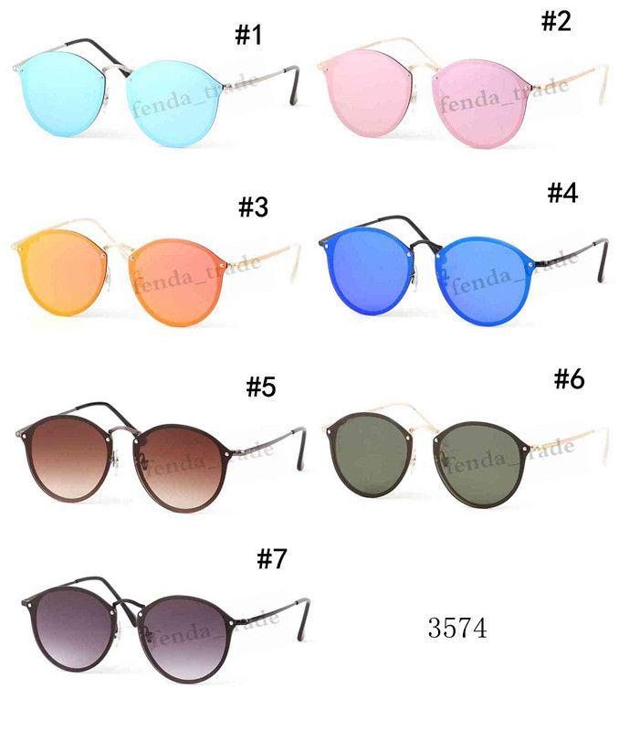 2019 Brand Designer Fashion Men and Women Sunglasses Round lens UV Protection Vintage Colorful color Sunglasses Retro Eyewear Quality A+++