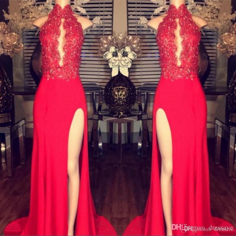 2019 Chiffon Vermelho Lado Dividir Vestidos de Baile Bainha Alta Colarinho Mergulhando Keyhole Neck Lace Apliques Frisado Longo Noite Pageant Vestidos