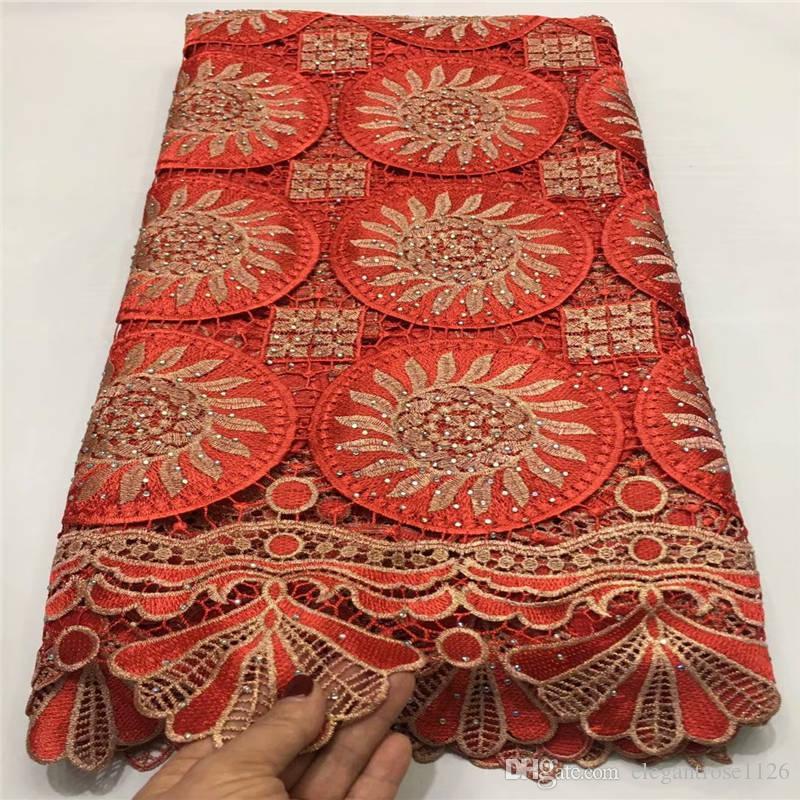 Горячая продажа Последнего Вышитого высокого качество Нигерийский Lace ткань 2019 для свадебных платьев African французского Тюль Чистой ткани шнурка 699963234463