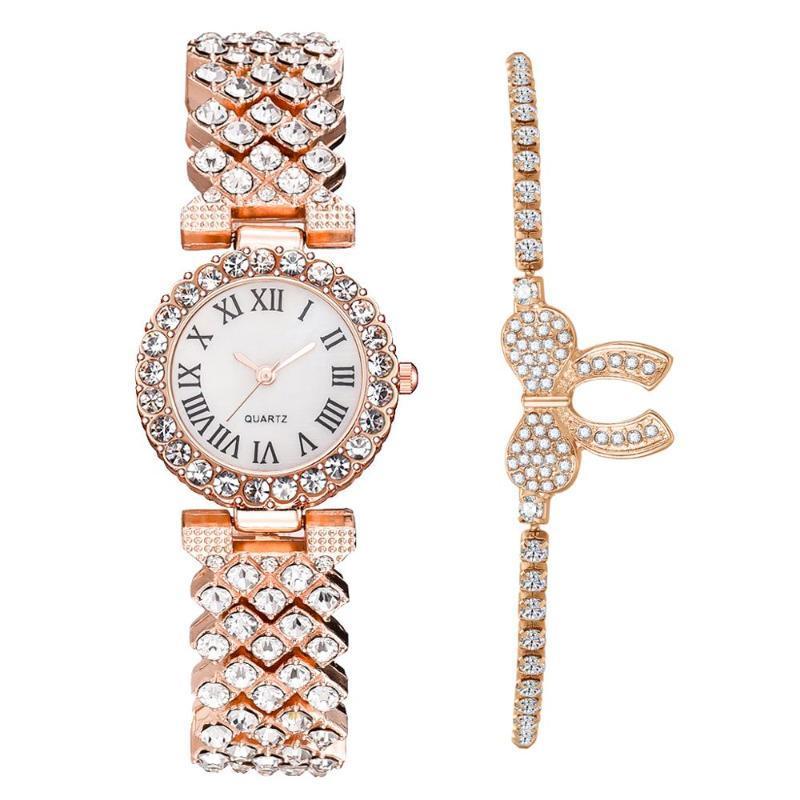 2020 heiße Verkaufs-Set Frau Uhren Rose Gold Edelstahl-Quarz-Uhr-Mode-Damen-Armbanduhr Relogios Femininos