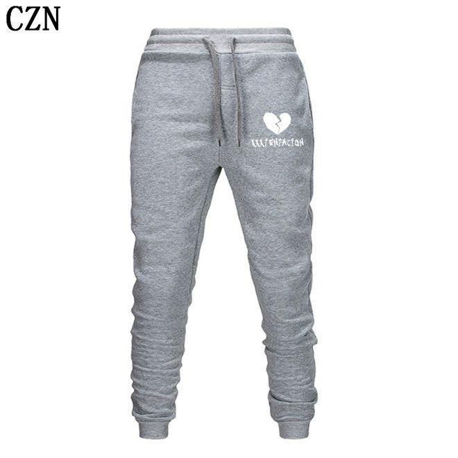 Los hombres de pantalones Streetwear Hip Hop XXXTentacion pantalones casuales hombres de la aptitud Joggers pantalón otoño paño grueso y suave del espesamiento de lazado EL-1
