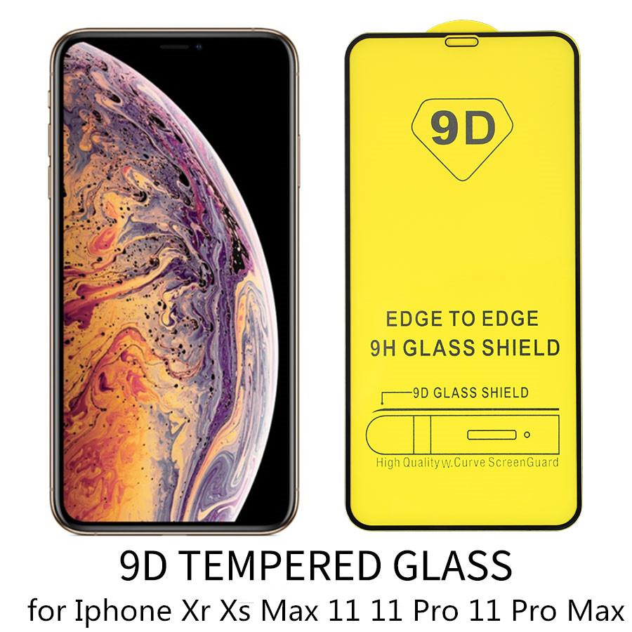 0.3mm 9D Screen Protector Tempered Glass For iPhone 11 Pro Xs Max X Xr 8plus iPhone 11Pro Max 6 7 8 with Packing