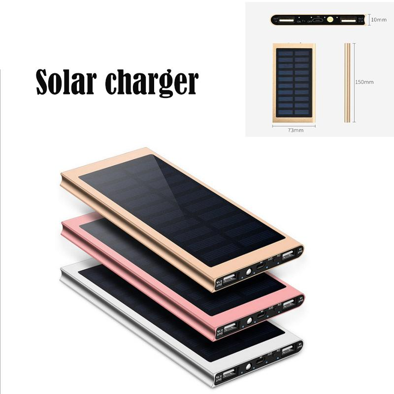 High quality aluminium Ultra Slim Luxury 20000mah External Solar Power Bank Double USB Portable Battery Charger for all phone iPhone/Xiaomi