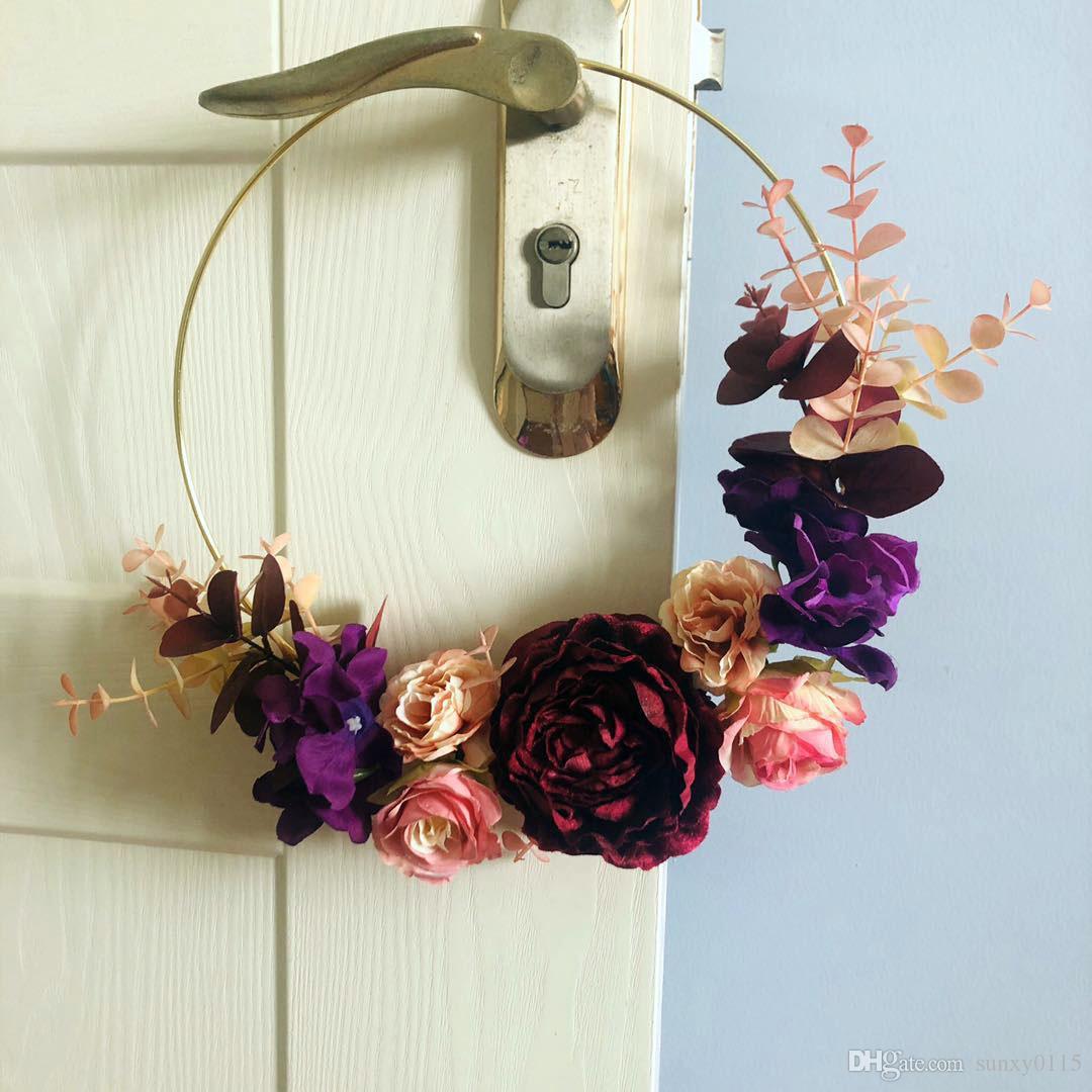 30 cm altın metal çember gelin yapay çiçek çelenk tutan duvar pencere Noel ev düğün dekorasyon için