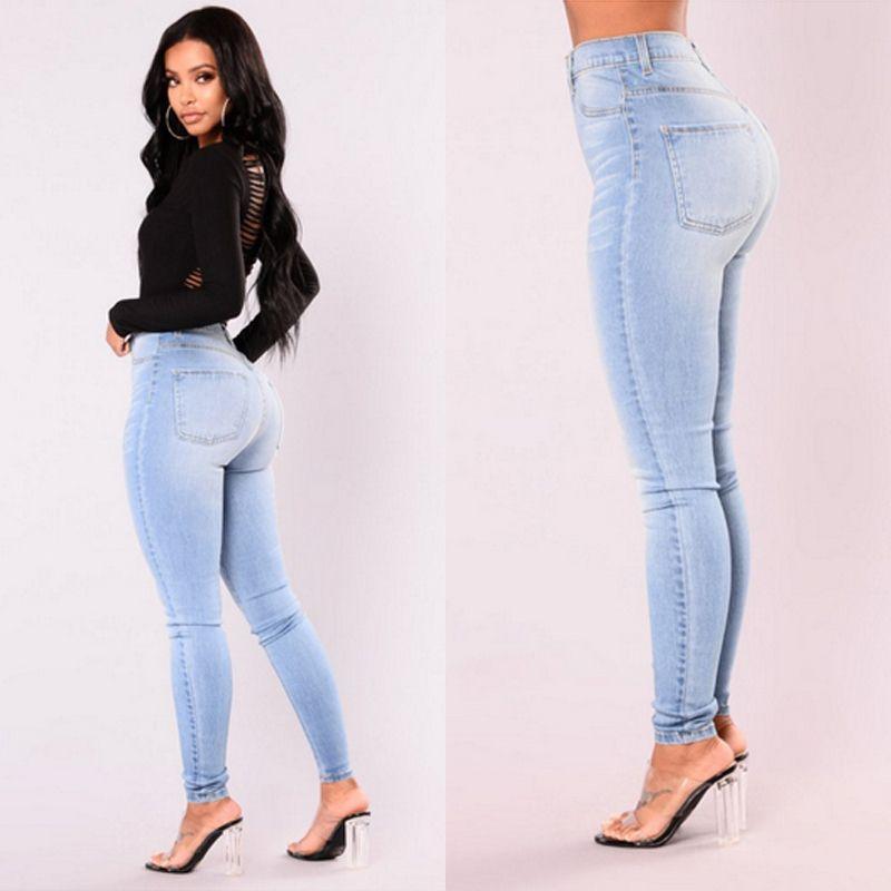 Mais recente Pants Mulheres Lady Arrivals Moda Hot Denim Skinny cintura jeans stretch altos magros Pencil Jeans Mulheres Jeans Casual