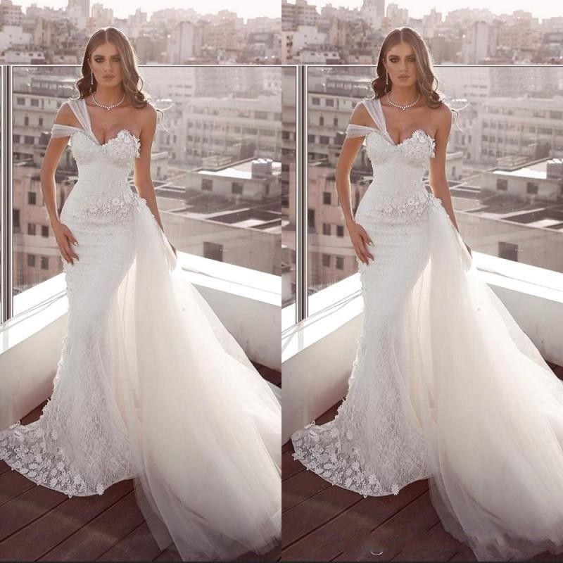 2020 New Plus Size Lace Vestidos de noiva sereia de um ombro Backless vestidos de noiva Com Tulle Train Beach Garden Vestido de Noiva