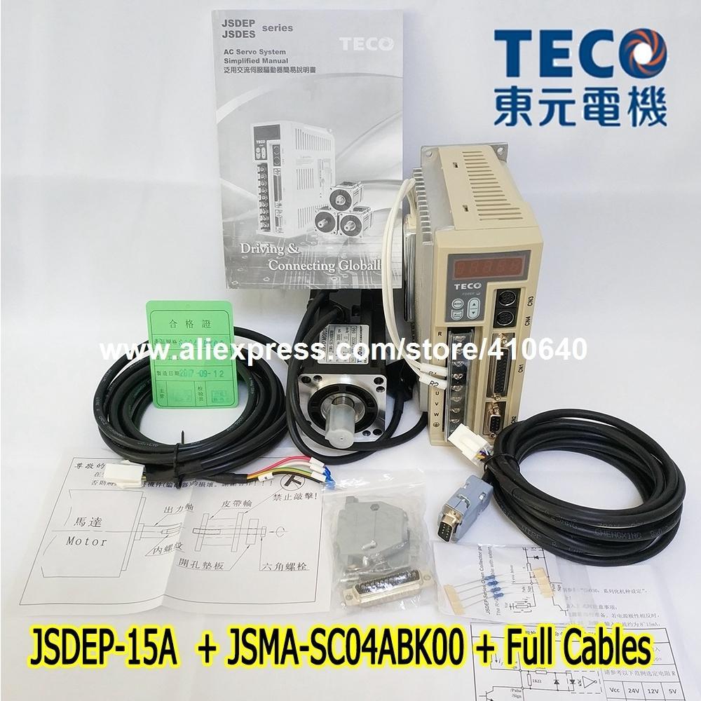 Free Shipping TECO 400W Servo Motor JSMA-SC04ABK00 And Drive JSDEP-15A with Cable