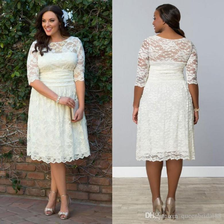 Discount 2019 Half Sleeves Short Plus Size Wedding Dresses Lace Knee Length  A Line Bridal Dresses China Civil Wedding Dresses Cream Wedding Dresses ...