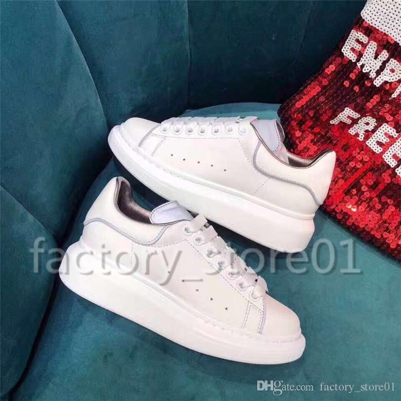 Großhandel Mens Womens Fashion Luxus Plattform Schuhe Flache Beiläufige Dame Gehen Lässige Turnschuhe Leuchtende Fluoreszierende Weiße Schuhe Leder