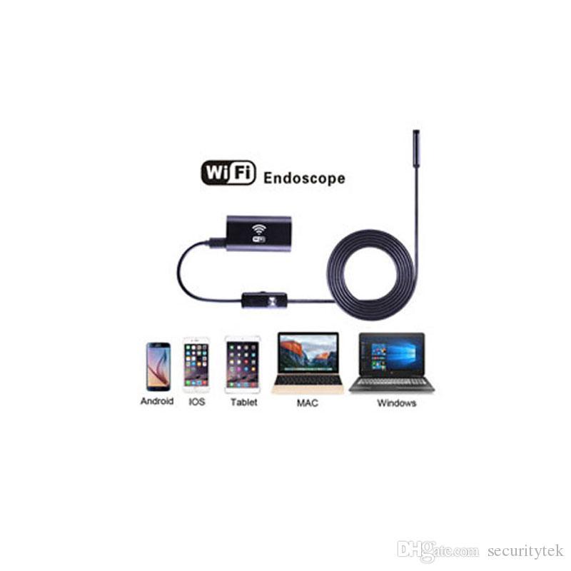 WiFi endoscópio câmera 720p hd com lente de 8mm 6 LED inspeção à prova d'água cam cheres câmaras ios android serpente flexível