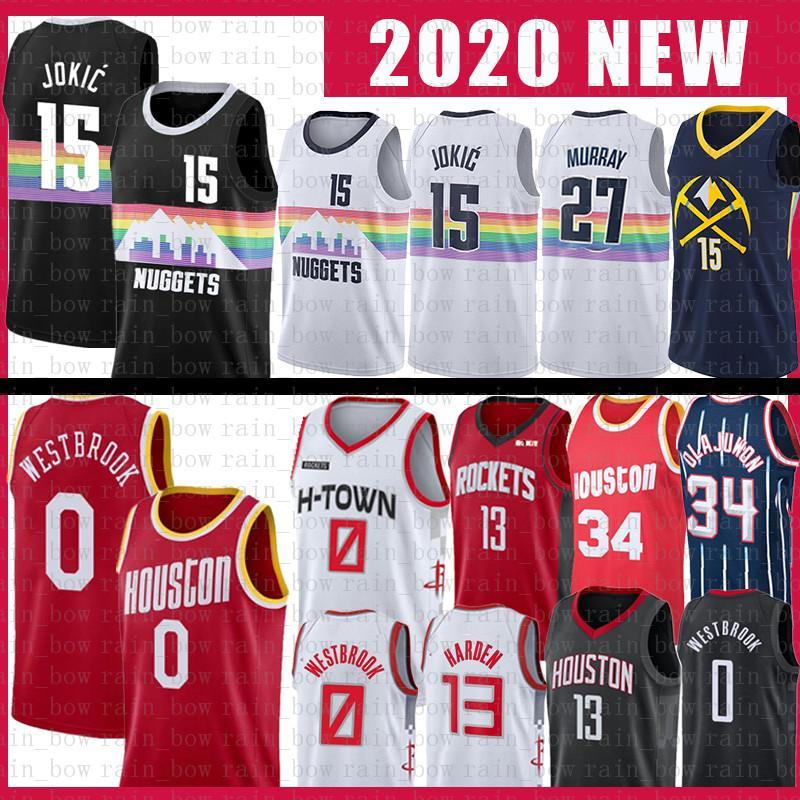 0 Russell Westbrook Nikola NCAA Basketball Jersey 15 Rocket 13 James Harden 34 Hakeem Jokic Olajuwon Jamal 27 Murray Jerseys
