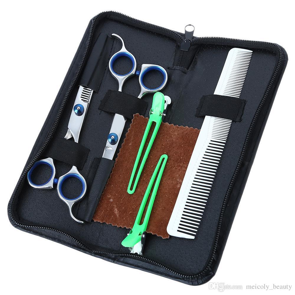 6.0in Profesyonel Kuaförlük Saç Makas Seti Kesme İnceltme Kuaför Makasları Saç Salonu Tarak + Firkete + PU Kılıf