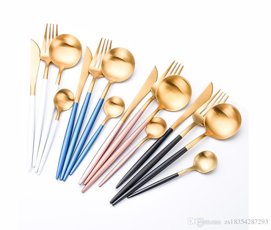 2021 الفاخرة جودة عالية 4 قطعة / المجموعة المحمولة الذهب السكاكين مجموعة ويسترن 304 الفولاذ المقاوم للصدأ أدوات المائدة مجموعة اكسسوارات المطبخ