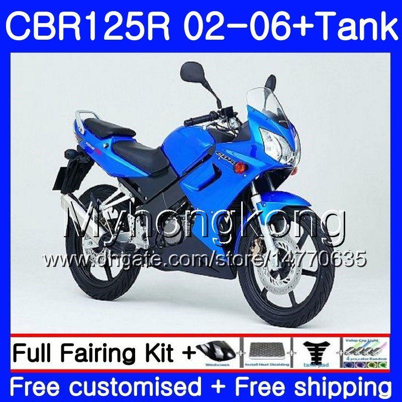 Cuerpo marco azul caliente + Tanque para HONDA CBR-125R 125CC C0BR125RR CBR125R 02 03 04 05 06 272HM.22 CBR 125 R 125R 2002 2003 2004 2005 2006 Carenado