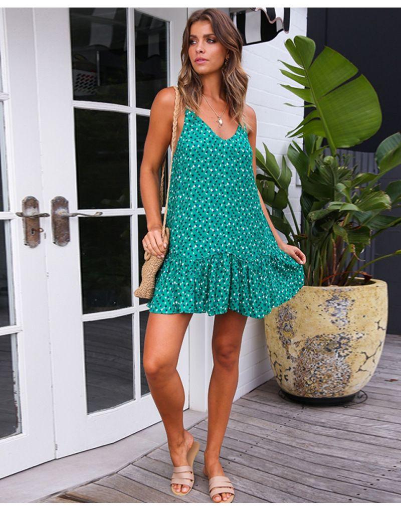 2019 новых женщин лета Цветочное платье с плеча Sling рукавов Backless Цветочные Printed платье пляж Короткое мини Sundress