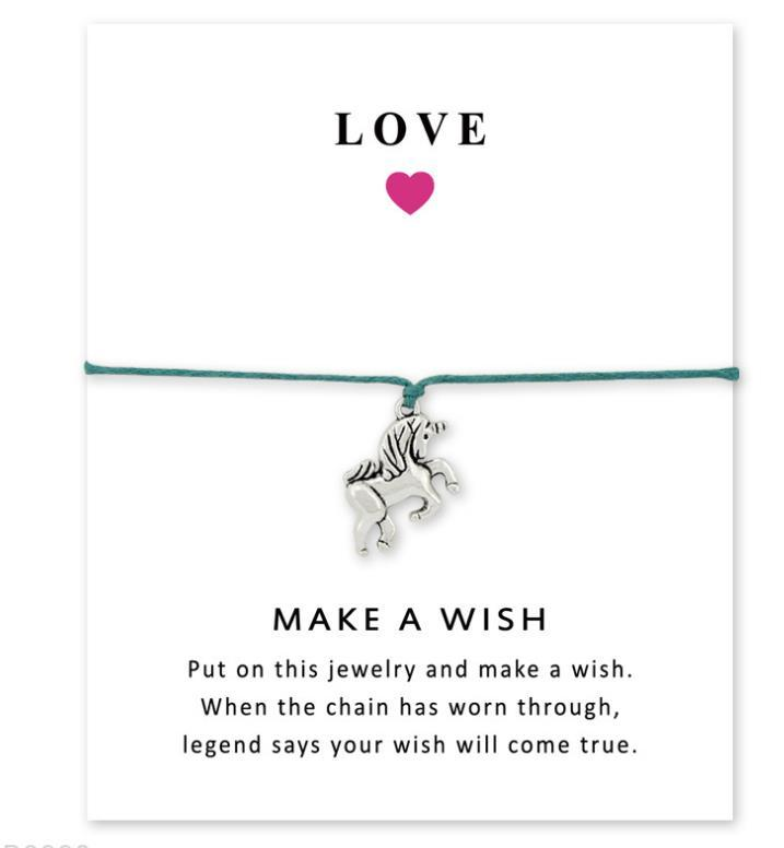 Wish Bracelet With Gift Card Dog Paw Love Unicorn Teacher Charms Bracelets Bangles Women men Friendship Statement Jewelry Greeting Cards