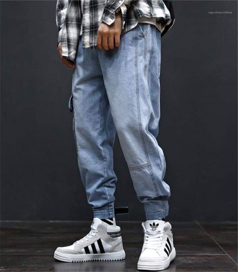 Pantaloni Moda a lungo Mens Cargo con tasche Hiphop allentati Light Blue Jeans Uomo